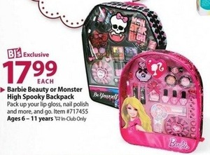 Barbie Beauty or Monster High Spooky Backpack