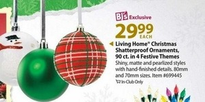 Living Home 90ct. Shatterproof Ornaments