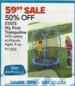 """Stats 55"""" My First Trampoline w/ Safety Enclosure"""