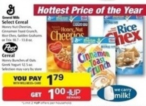 Select General Mills & Post Cereal w/ Wellness+ Card