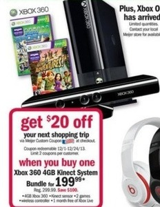 Xbox 360 4GB Kinect System Bundle + $20 Future Shopping Coupon