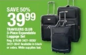 Travelers Club 3-Pc Luggage Set