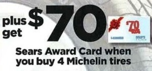 $70 Sears Award Card w/ 4 Michelin Tires Purchase