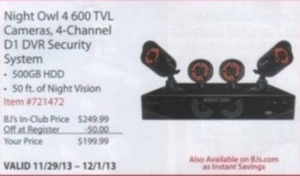 Night Owl 4 600 TVL Cameras,