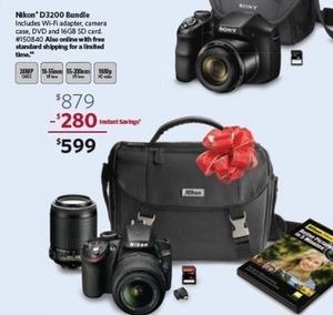 Nikon D3200 DSLR 2 Lens Bundle with 16GB Memory Card & Carrying Case