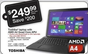 "Toshiba 15.6"" Laptop w/ AMD CPU"
