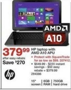 """HP Pavilion 15-N066US 15"""" Laptop w/ 6GB RAM & 750GB HDD After Rebate"""