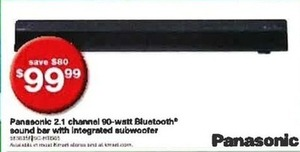 Panasonic Bluetooth Soundbar w/ Integrated Subwoofer