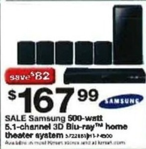 Samsung 500W 5.1-Channel 3D Blu-Ray Home Theater System