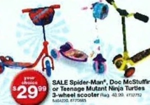 Spider-Man, Doc McStuffins or TMNT 3-Wheel Scooter
