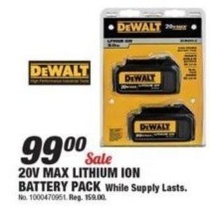 Dewalt 20V Max Lithium Ion Battery Pack