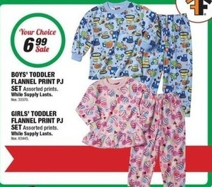 Boys' and Girls' Toddler Flannel Print PJ Set