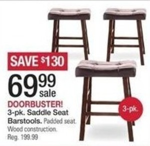 3 pk Saddle Seat Barstools