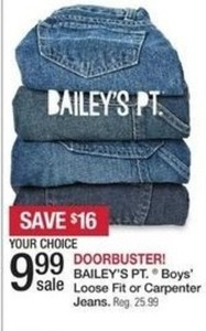 Bailey's Pt. Boys' Loose Fit or Carpenter Jeans