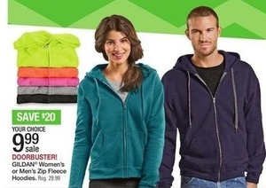 Gildan Women's or Men's Zip Fleece Hoodies