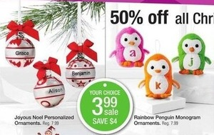 Joyous Noel Personalized & Rainbow Penguin Monogram Ornaments