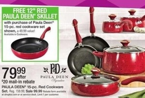 Paula Deen 15PC Red Cookware Set + Free Skillet After Rebate