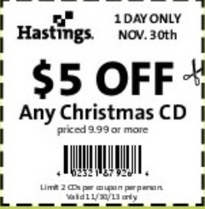 Any Christmas CD Coupon - 11/30 Only