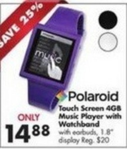 Polaroid Touch Screen 4GB Music Player w/ Watchband
