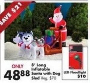 8' Long Inflatable Santa w/ Dog Sled