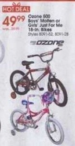 "Ozone 500 Boys' Molton or Girls' Just for Me 18"" Bikes"