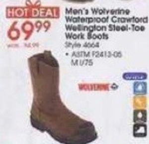 Wolverine Men's Waterproof Crawford Wellington Steel Toe Work Boots