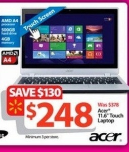 "Acer 11.6"" Touch Laptop w/ 4GB RAM & 500GB HDD"
