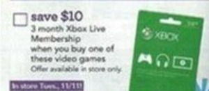 3 mon. Xbox Live Membership w/ Select Game Order