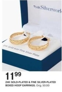 24k Gold-Plated & Fine Silver-Plated Boxed Hoop Earrings