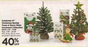 Celebrate It Christmas Burlap Trees and Merry Minis Ornament Collection