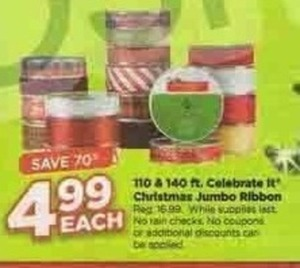 Celebrate It Christmas Jumbo Ribbon