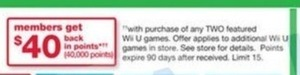 Purchase 2 Featured WiiU Games + $40 Back in Points