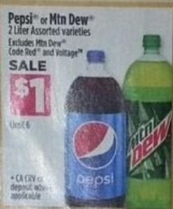 Pepsi or Mountain Dew 1L Bottles