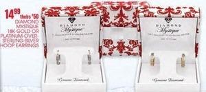 Diamond Mystique 18K Gold or Platinum-Over-Sterling Silver Hoop Earrings