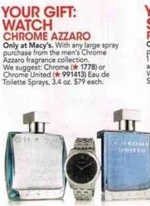 Watch w/ Large Spray Men's Chrome Azzaro Fragrance Purchase