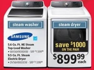 Samsung 5.6 cu. ft. HE Steam Washer & 9.5 cu. ft. Steam Dryer