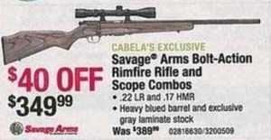Savage Arms Bolt-Action Rimfire Rifle and Scope Combo