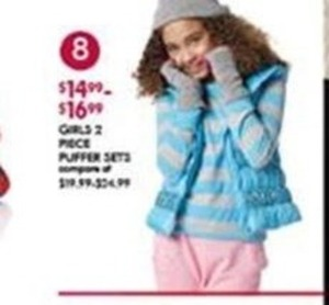 Girls 2 Piece Puffer Sets