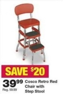 Cosco Retro Red Chair w/ Step Stool