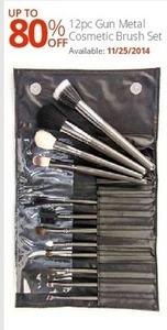 12pc Gun Metal Cosmetic Brush Set