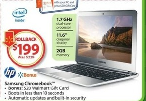 Samsung Chromebook + $20 Walmart Gift Card