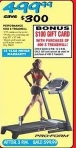 Pro-Form Performance S Treadmill + $100 Gift Card