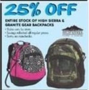 Entire Stock of High Sierra & Granite Gear Backpacks
