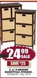 3- or 4-Drawer Basketville Storage