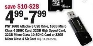 PNY 16GB USB Drive, 16GB Micro SDHD Card, 32GB Micro SDHC Card or 32GB Micro Class 4 SD Card