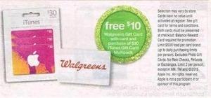 $10 Walgreens Gift Card w/ $30 iTunes Gift card
