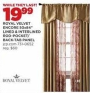 Royal Velvet Encore 50x84 Lined & Interlined Panels