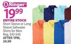 Entire Stock of Men's Short Sleeve or Long Sleeve Saltwater Shirts