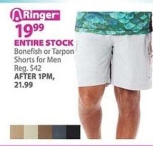 Entire Stock of Men's Bonefish or Tarpon Shorts