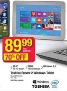 "Toshiba 2 Encore 10.1"" Windows Tablet"